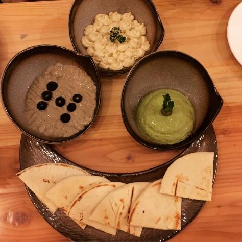 cold mezzo - olive hummus, pesto hummus, hummus